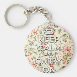 Shabby chic keep calm and carry on keychain