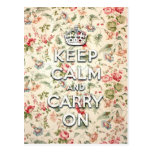 Shabby chic keep calm and carry on post card