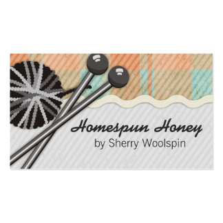 Shabby chic knitting crochet ball of yarn plaid pack of standard business cards