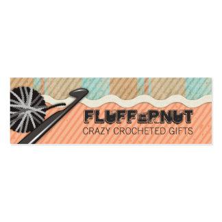 Shabby chic knitting crochet ball of yarn plaid pack of skinny business cards