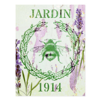 shabby chic lavender vintage bee french country postcard