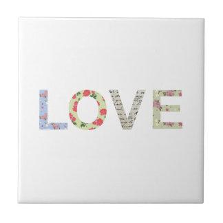 Shabby Chic Love Typography - white Ceramic Tiles