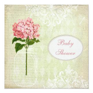 Shabby Chic Mason Jar & Hydrangea Baby Shower 13 Cm X 13 Cm Square Invitation Card