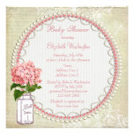 Shabby Chic Mason Jar & Hydrangea Baby Shower Personalized Announcements