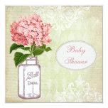 Shabby Chic Mason Jar & Hydrangea Baby Shower Personalized Announcement