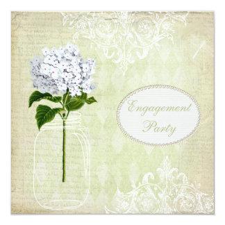 Shabby Chic Mason Jar & Hydrangea Engagement 13 Cm X 13 Cm Square Invitation Card