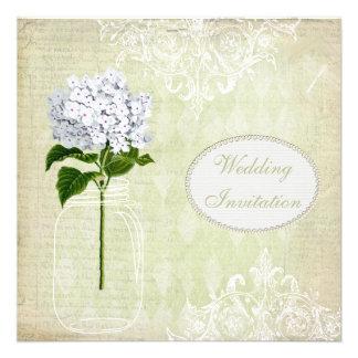 Shabby Chic Mason Jar Hydrangea Wedding Invite