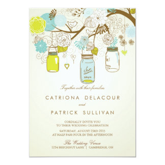 SHABBY CHIC MASON JARS SPRING WEDDING INVITATION
