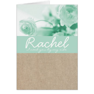 Shabby Chic Mint Peony Burlap Bridesmaid Request Stationery Note Card