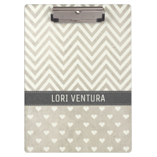 Shabby Chic Natural Chevrons and Hearts Clipboard