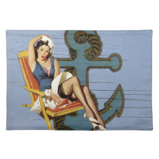 Shabby Chic Nautical Anchor Pin Up Girl Sailor Placemat