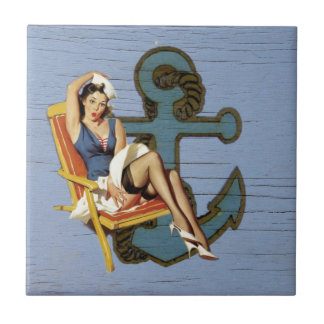 Shabby Chic Nautical Anchor Pin Up Girl Sailor Small Square Tile