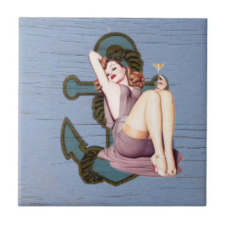 Shabby Chic Nautical Anchor Pin Up Girl Tile