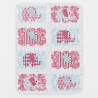 Shabby Chic Nursery Elephants Damask Stripes Pramblanket