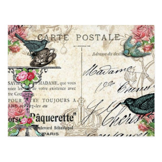 Shabby Chic Paris Bluebird Postcard