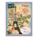 Shabby Chic Paris Eiffel Tower & Roses Baby Shower Custom Announcement