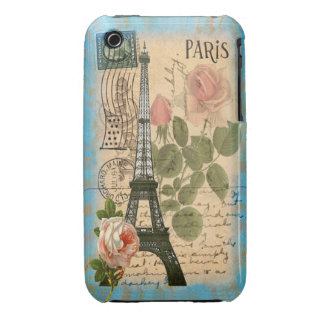 Shabby Chic Paris Eiffel Tower & Roses iPhone 3 Case-Mate Cases