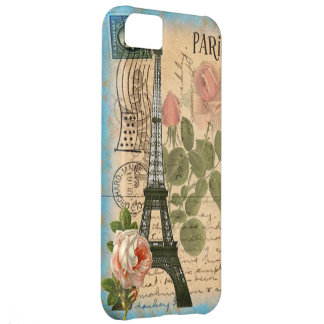Shabby Chic Paris Eiffel Tower & Roses iPhone 5C Case