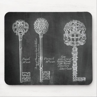 shabby chic paris vintage keys chalkboard mouse pad