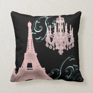shabby chic parisian eiffel tower chandelier cushion