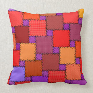 Shabby Chic Patchwork With Black Stitches Cushion