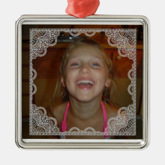 Shabby Chic Personalize Photo Christmas Silver-Colored Square Decoration