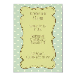 Shabby Chic Picnic Party Invite Polka Dot