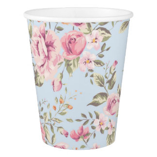 Shabby Chic Pink and Blue Floral Paper Cups