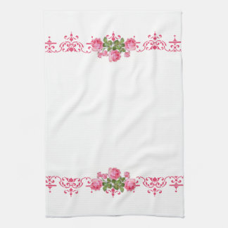 Shabby Chic Pink Floral Kitchen Towel