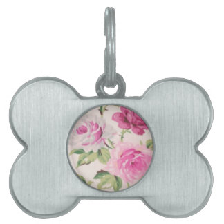 shabby chic pink floral vintage victorian girly pet ID tags
