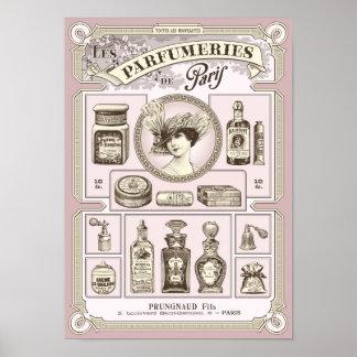 Shabby chic pink French/Paris perfumery poster