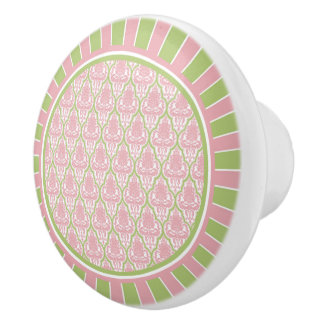 Shabby Chic Pink & Green Damask Ceramic Knob
