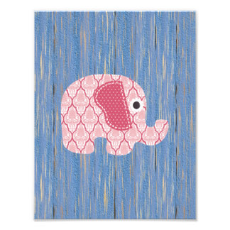 Shabby Chic Pink Rose Damask Elephant, Blue Wood Art Photo
