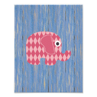 Shabby Chic Pink Rose Harl Elephant on Blue Wood Photo