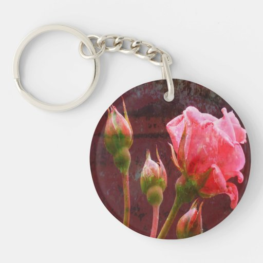 Shabby Chic Pink Rose Key Chains