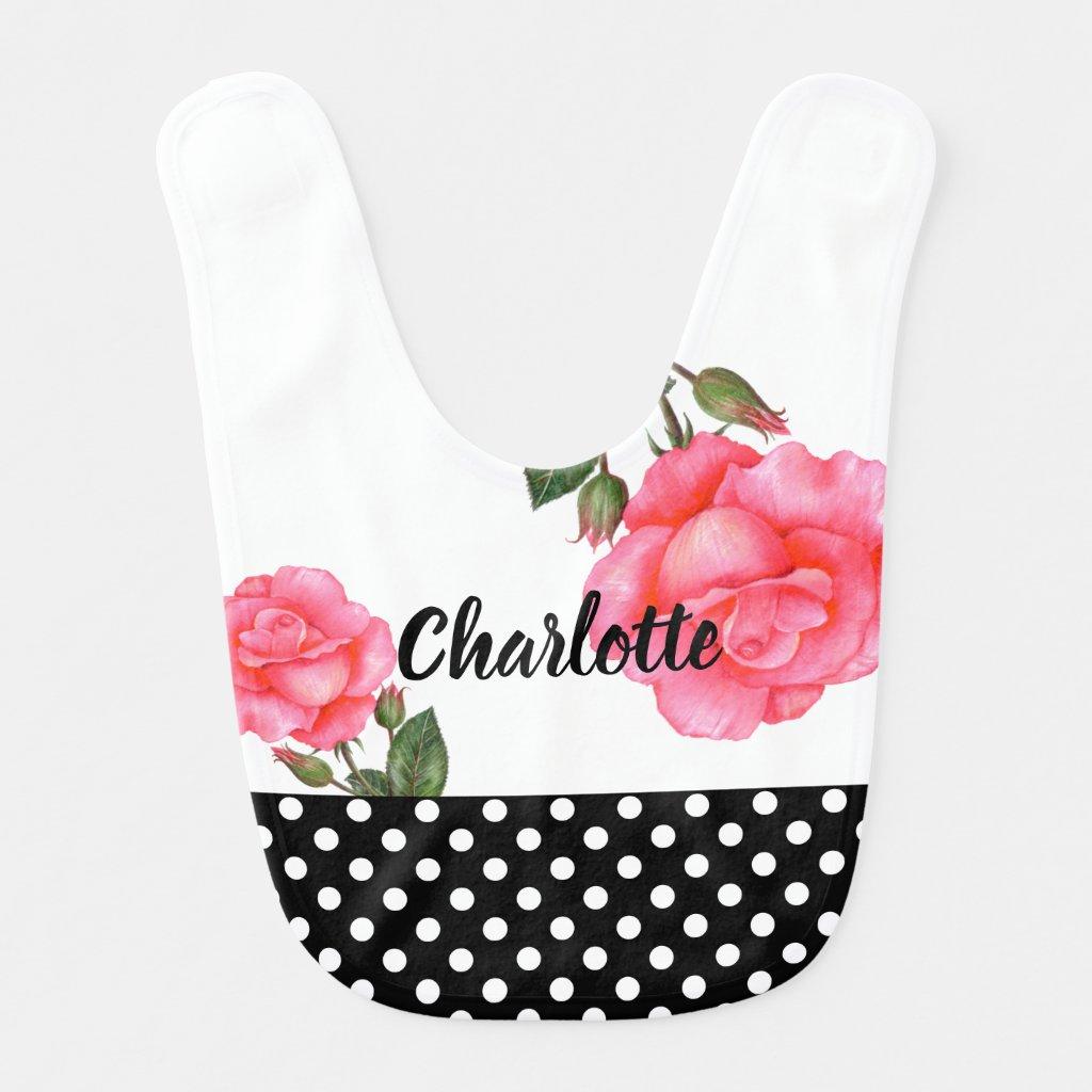 Shabby Chic Pink Rose Polka Dots Bib