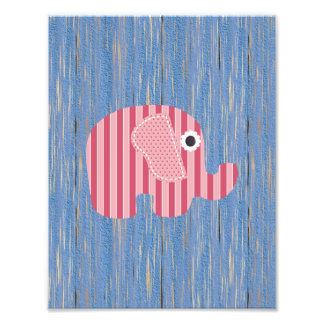 Shabby Chic Pink Rose Stripe Elephant, Blue Wood Photograph