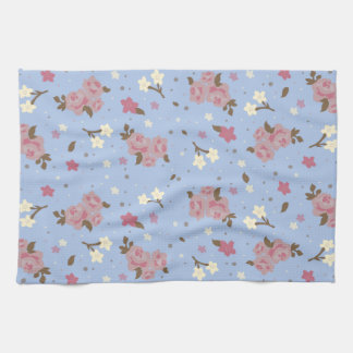 Shabby Chic Pink Roses on Baby Blue Background Tea Towel