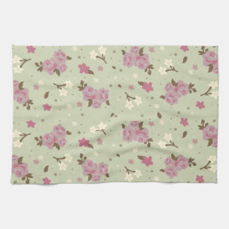 Shabby Chic Pink Roses Pattern Tea Towel