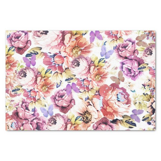 Shabby chic pink roses vintage butterfly floral tissue