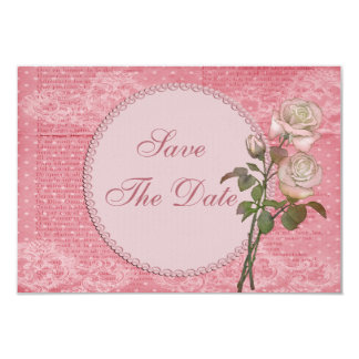 Shabby Chic Pink Roses Wedding Save the Date Personalized Announcement