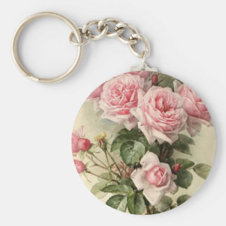 Shabby Chic Pink Victorian Roses Key Chain
