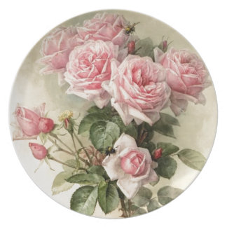 Shabby Chic Pink Victorian Roses Plate
