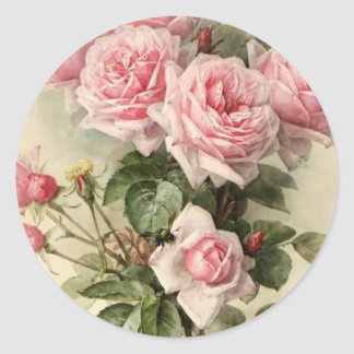 Shabby Chic Pink Victorian Roses Round Sticker