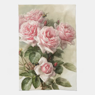 Shabby Chic Pink Victorian Roses Tea Towel