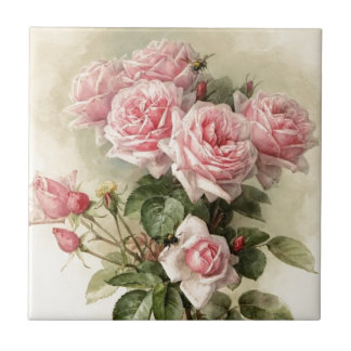 Shabby Chic Pink Victorian Roses Ceramic Tiles