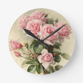 Shabby Chic Pink Victorian Roses Wallclock