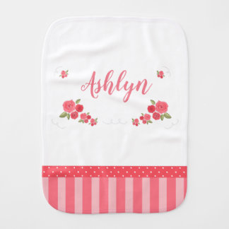 Shabby Chic Pink White Floral Flower Name Burp Cloth