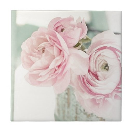 Shabby Chic Pitcher of Pink Flowers Tiles