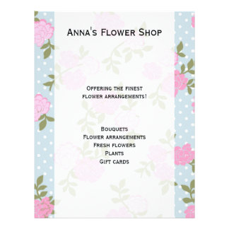 Shabby Chic, Polka Dots, Roses - Blue Pink Green 21.5 Cm X 28 Cm Flyer